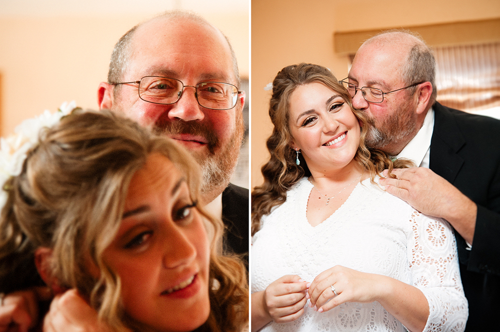 Dad Fastens Bride's Necklace by Arcata Wedding Photographer Kate Donaldson