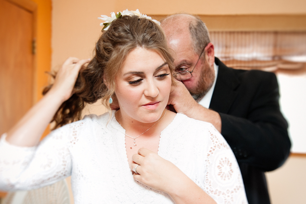 Dad Fastens Bride's Necklace © Humboldt Wedding Photographer Kate Donaldson
