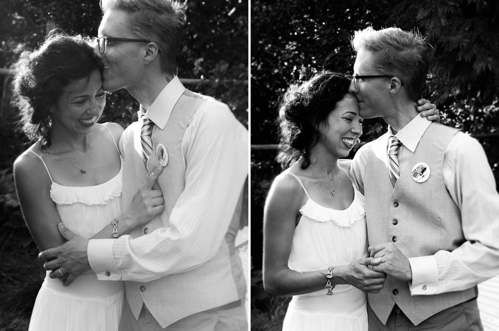 Candid black and white portrait of a fun loving Oregon bride and groom at a DIY farm wedding in late summer by Humboldt County wedding and portrait photographer Kate Donaldson Photography, specializing in true and beautiful moments