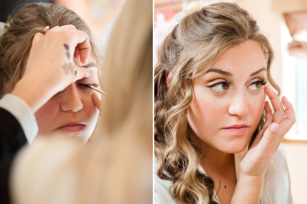 Bride gets her makeup done at a Colorado mountain wedding with the help of a bridesmaid; by Arcata wedding and portrait photographer Kate Donaldson Photography