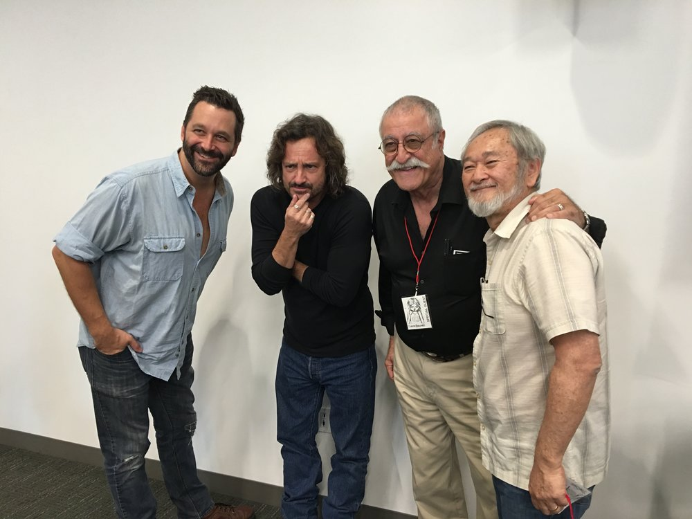 From left to right: Comic artist Chris, Jeff Smith, Sergio Aragones, Stan Sakai.