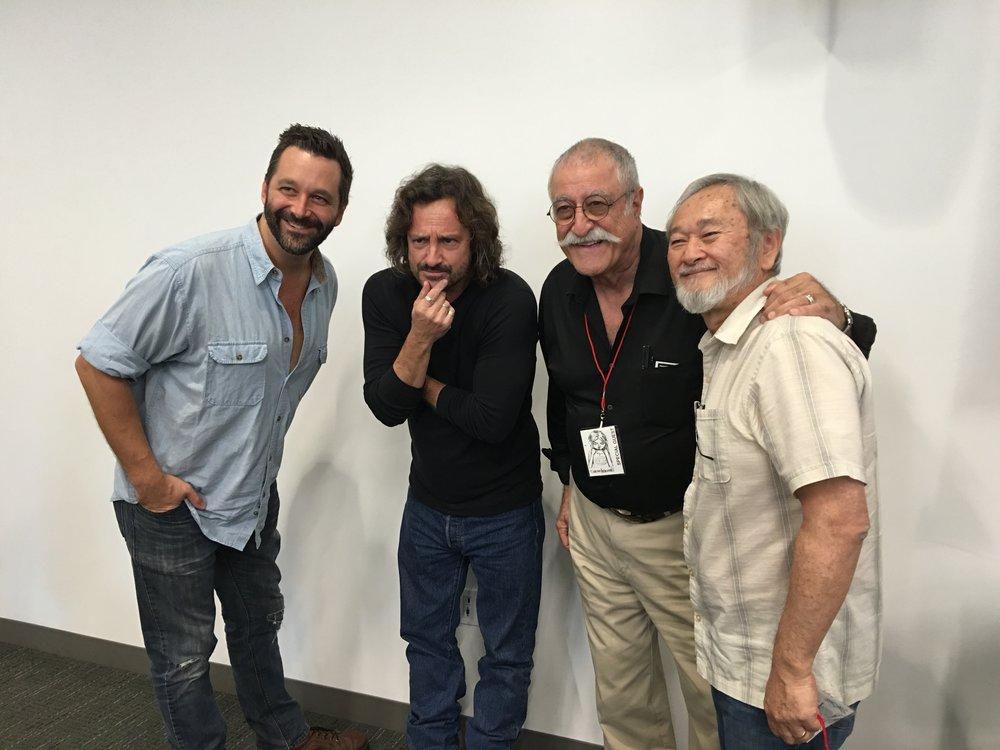 From left to right: Comic artist Chris, Jeff Smith, Sergio Aragones, Stan Sakai.