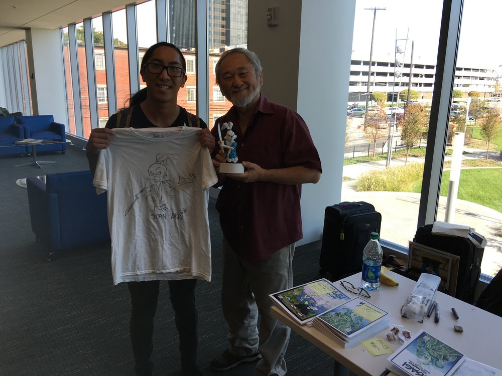 Stan and myself. I made a statue of Usagi and presented it to Stan today as a token of my appreciation. I had him sign my t-shirt and he drew Usagi, I now have an exclusive one of a kind Usagi Yojimbo t-shirt.