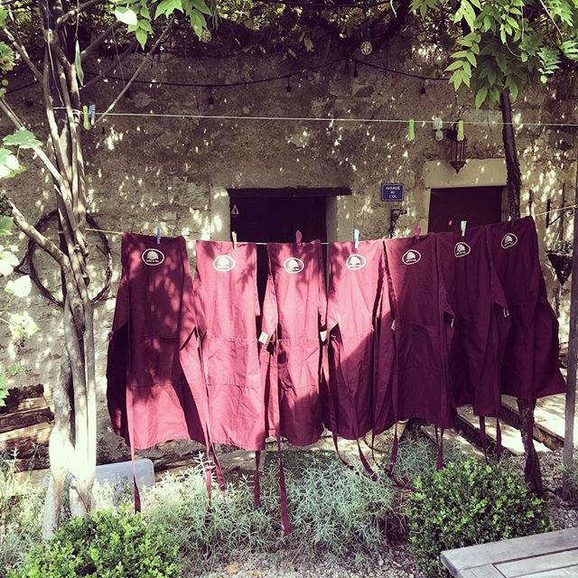 Pilgrims au Pain aprons hung out to dry.