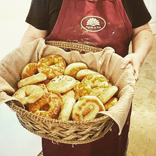 Check out this basket full of bagels! Baked of course, in our ancient wood-fired oven.