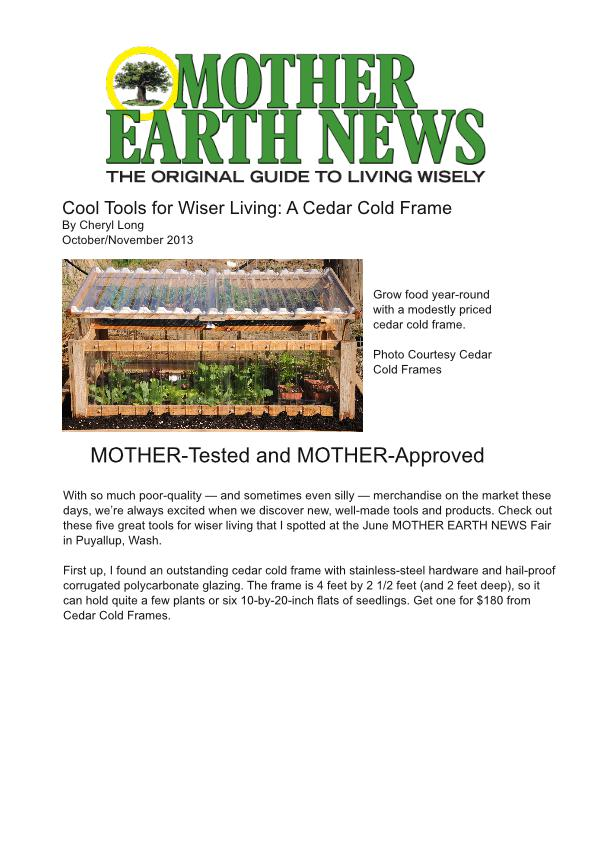 Mother Earth News Cold Frame Review