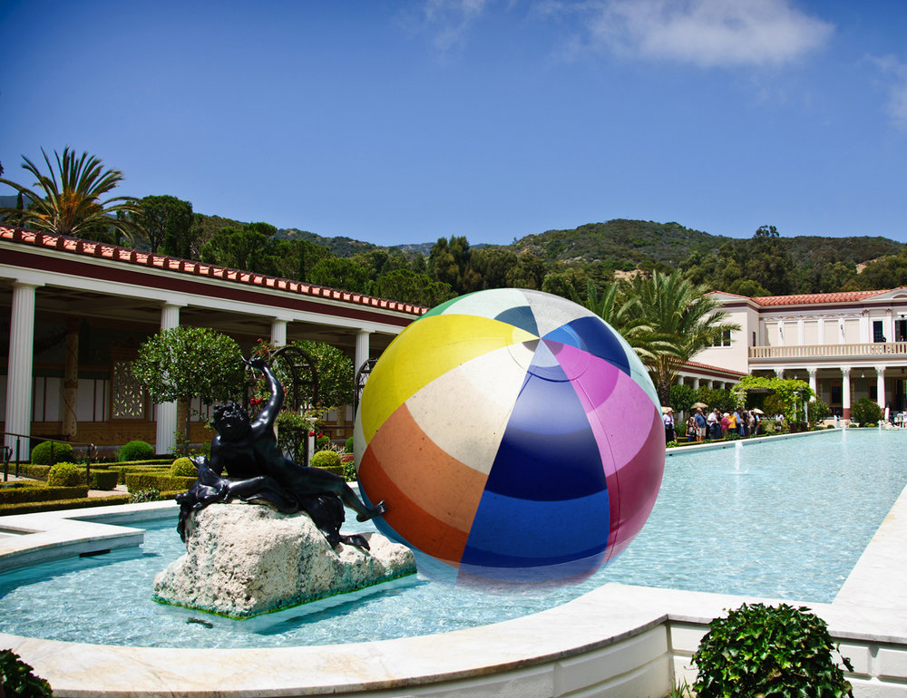 Proposal for a Giant Beach Ball to Float in the Getty Museum Pool