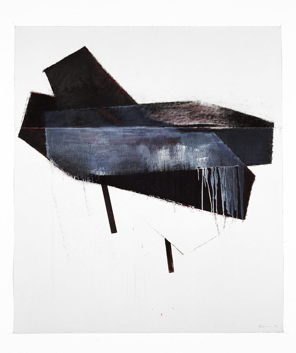 Plaisir de la nuit  (1992)   Techniques mixes et papier collé sur papier Stonehenge, 145.5 x 127 cm, collection privée. photo : Richard-Max Tremblay