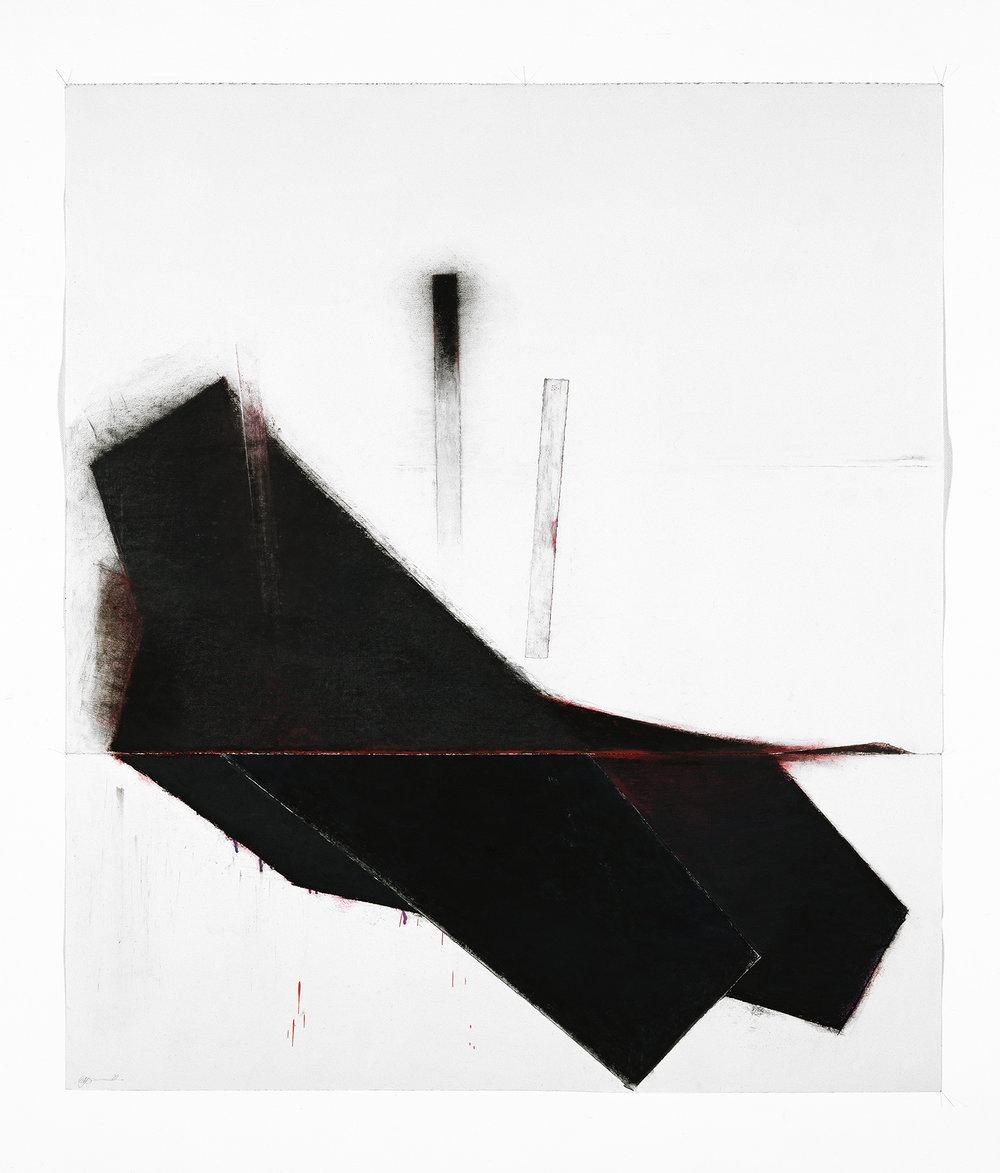 Noche Oscura IV    (1993)   Techniques mixes et papier collé sur papier Stonehenge, 145.5 x 127 cm, collection privée. photo : Richard-Max Tremblay