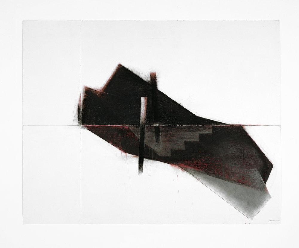 Seuils II  (1997)   Techniques mixes et papier collé sur papier Stonehenge, 126.6 x 211.2 cm, collection privée. photo : Richard-Max Tremblay
