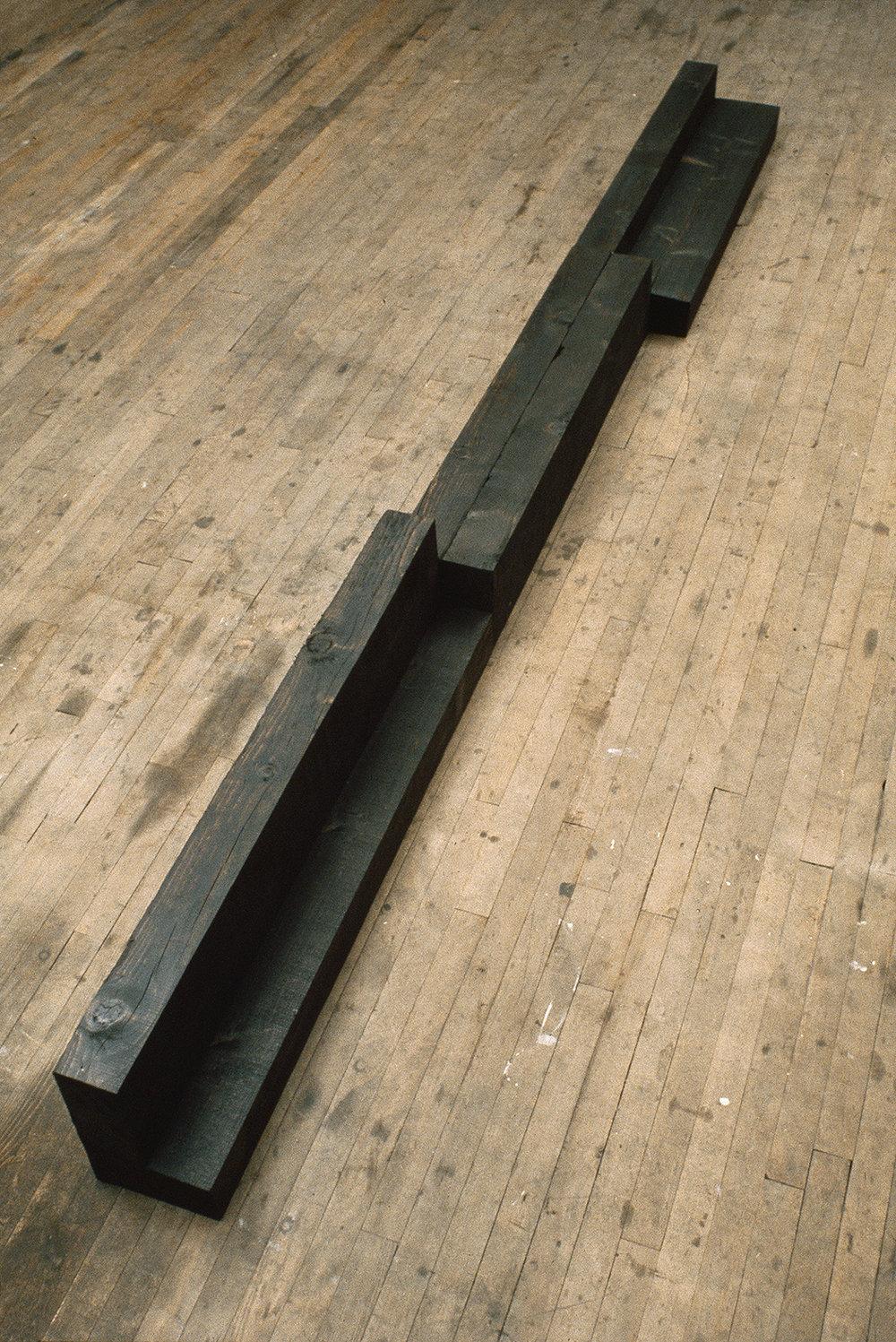 Sans titre (1976)   Bois, créosote, 30.4 x 30.4 x 365.7 cm, collection de la Banque d'oeuvres d'art du Conseil des Arts du Canada. photo : G. Szilasi
