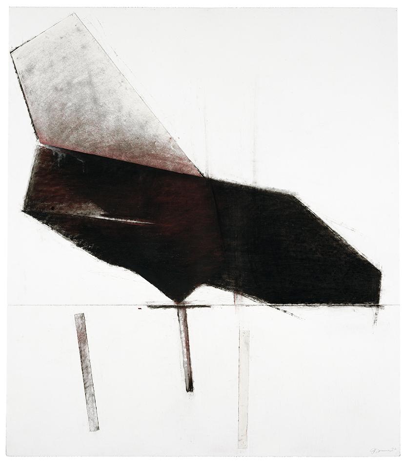 Noche oscura #1  (1992)   Fusain, huile, pastel et papier collé sur papier Stonehenge, 145,5 x 127 cm, collection privée. photo : Richard-Max Tremblay