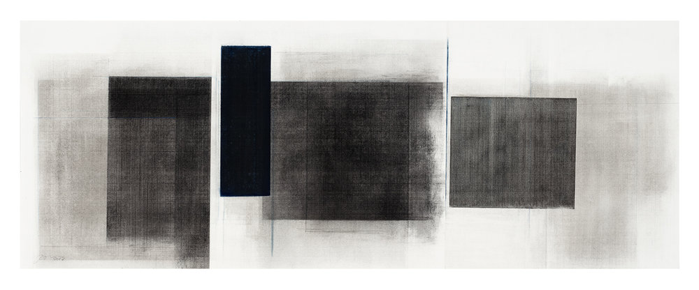 Séquence III  (2018)   Fusain, graphite et pigments sur papier, 43 x 112 cm, collection de l'artiste. photo : Richard-Max Tremblay