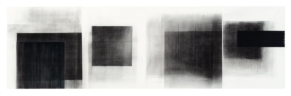 Séquence V  (2018)   Fusain, graphite et pigments sur papier, 43 x 146 cm, collection de l'artiste. photo : Richard-Max Tremblay