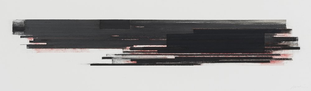 Stratification  (2015)   Pastel, fusain, graphite et pigment à l'huile, 25.4 x 91.4 cm, collection privée