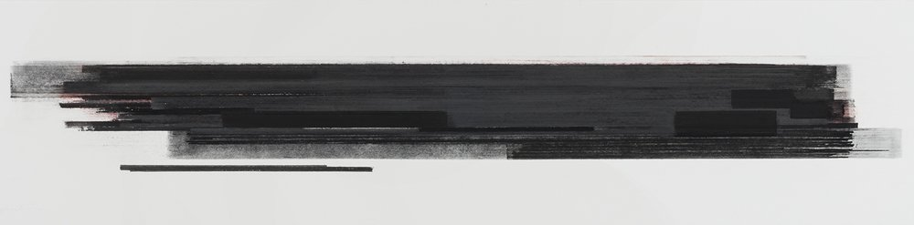 Stratification #28  (2015)   Pastel, fusain, graphite et pigment à l'huile, 25.4 x 91.4 cm, collection de l'artiste
