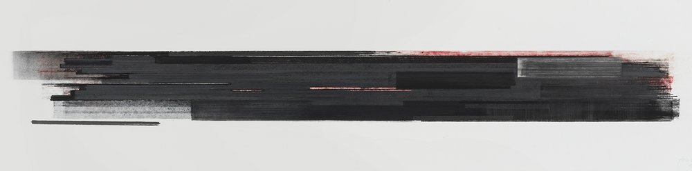 Stratification #29  (2015)   Pastel, fusain, graphite et pigment à l'huile, collection de l'artiste, 25.4 x 91.4 cm