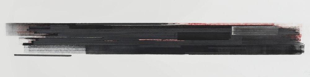 Stratification #29  (2015)   Pastel, fusain, graphite et pigment à l'huile, collection de l'artiste, 25.4 x 91.4 cm