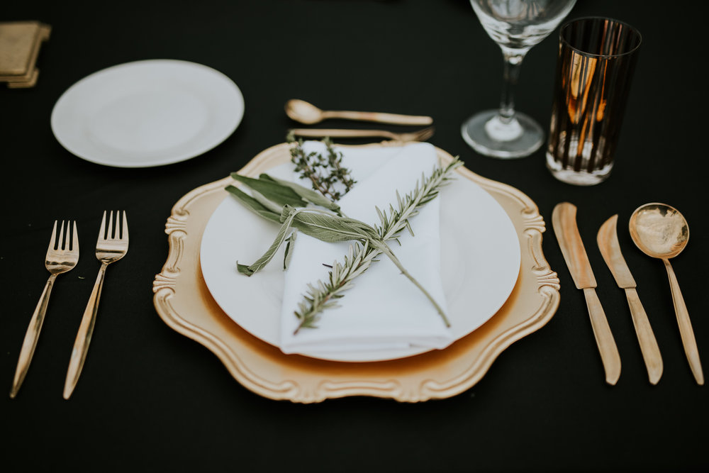 Details of place setting at Rock Creek Meadows wedding venue.