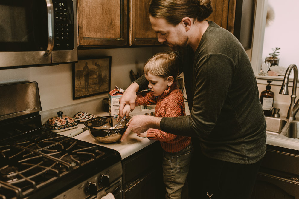 Dad and toddler making breakfast in southern oregon home