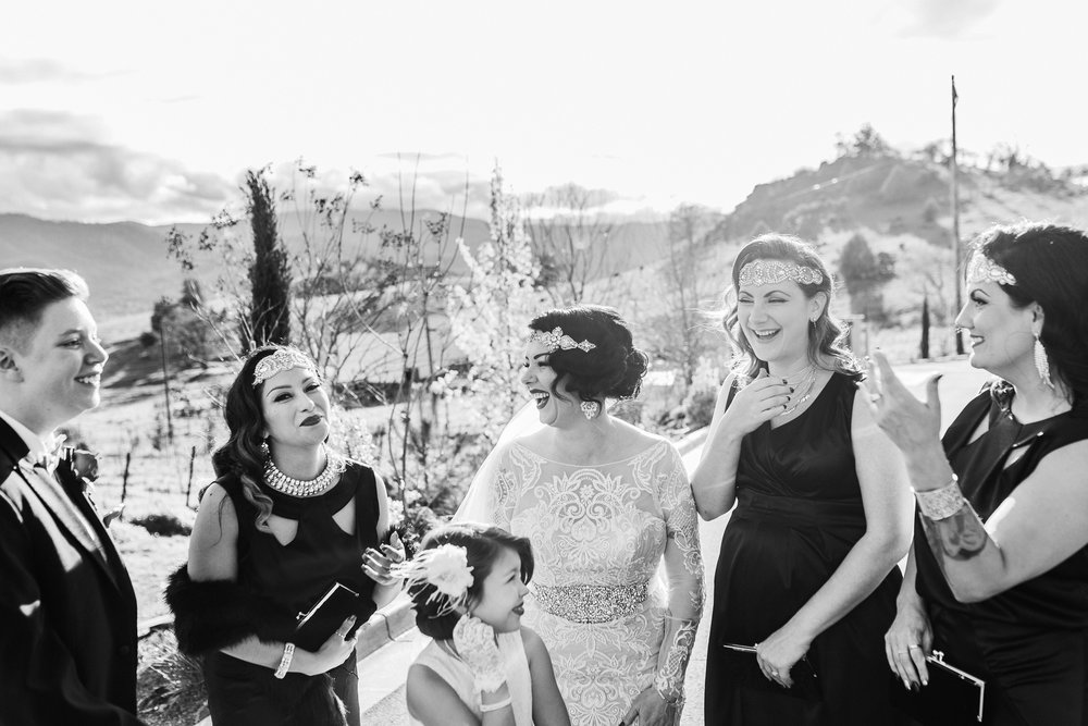 Southern Oregon bride laughing with bridesmaids
