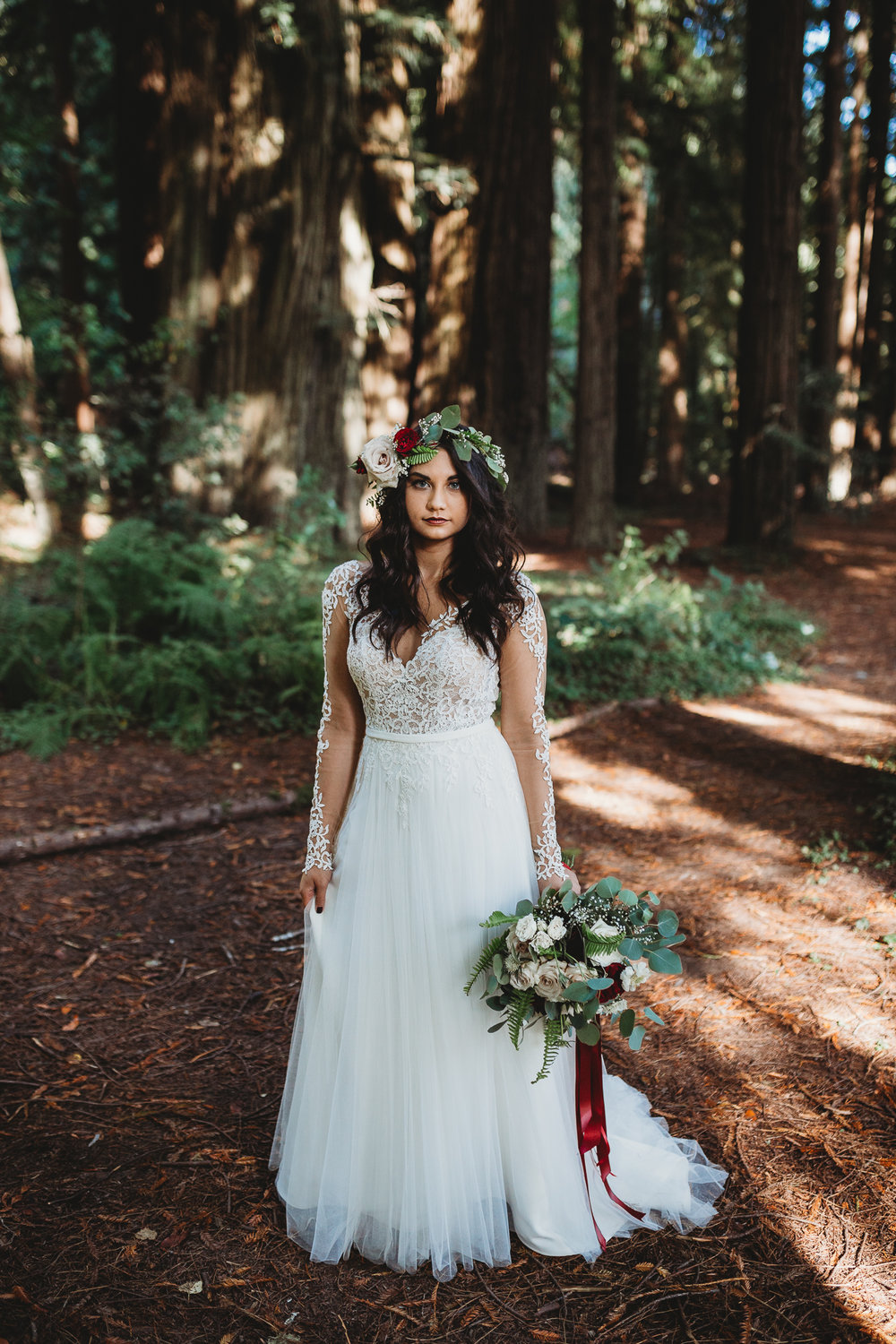 Redwood Forest bride Oregon wedding photographer