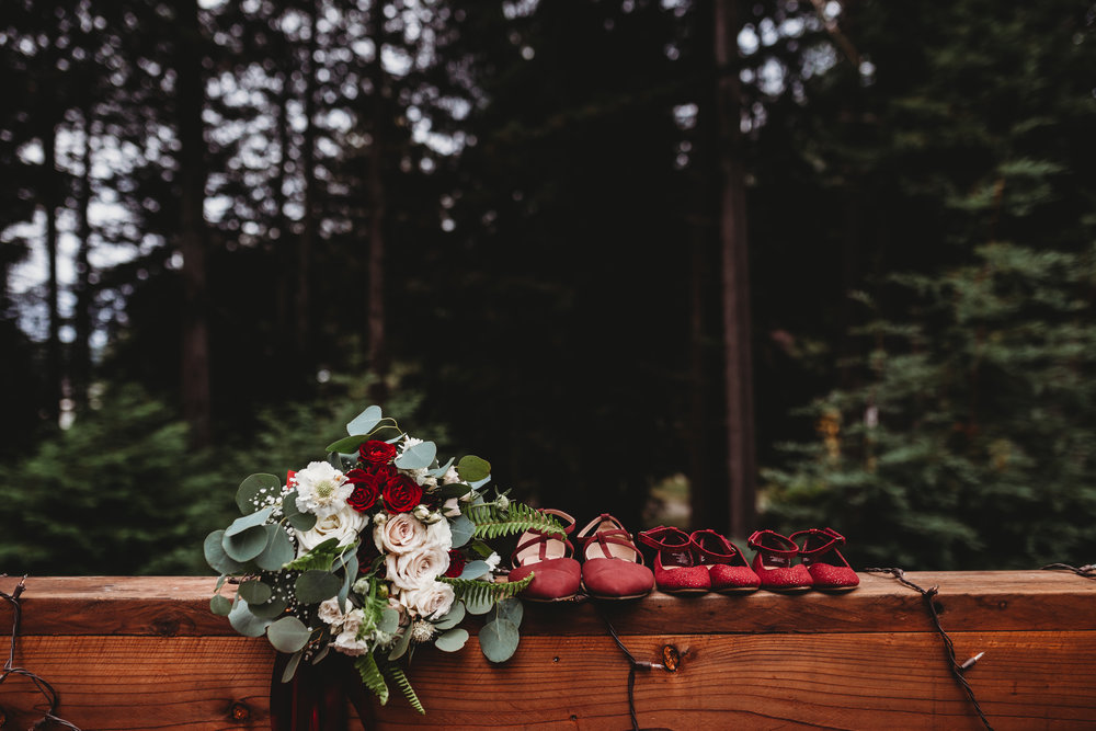 Bride's bouquet with shoes redwood forest wedding southern Oregon wedding photographer