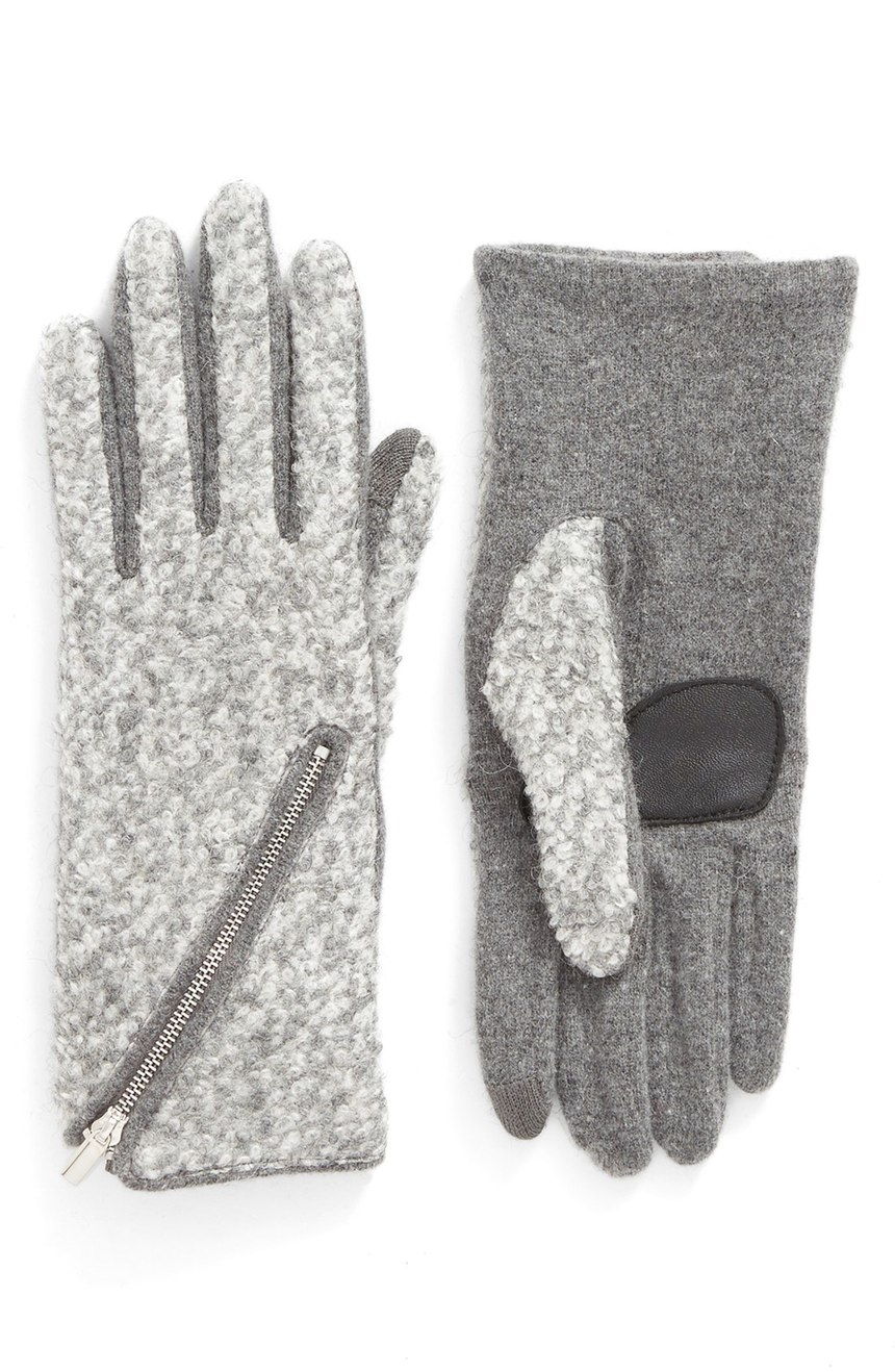 "Echo ""Touch-Zip Boucle"" Tech Gloves"