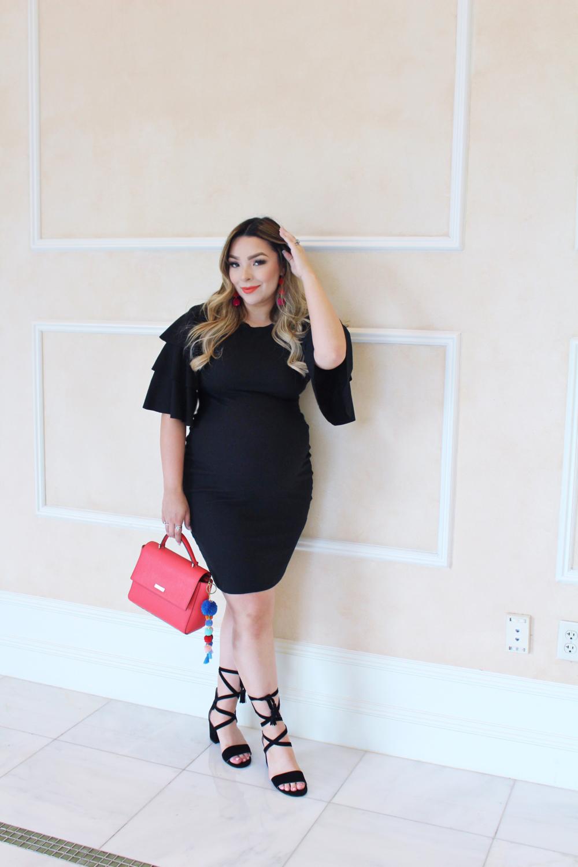 dress, earrings, heels, lipstick, key fob
