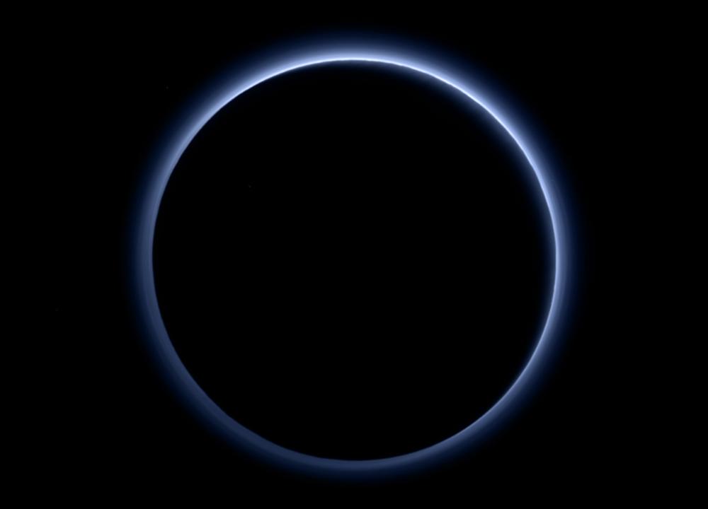 Pluto's blue sky. Image credit:Credits: NASA/JHUAPL/SwRI