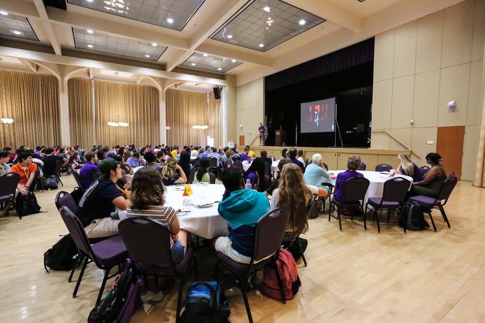 Students watch a video about science communication at BIOS. Photo credit: Paige Jarreau