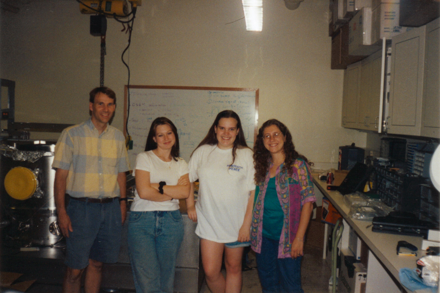 My first working group in grad school in the summer of 1999 at Penn State.  I am the second to last on the right and Gaby is the last on the right.  The other people are Make Beilby (far left) and Jennifer Poker (second from left).
