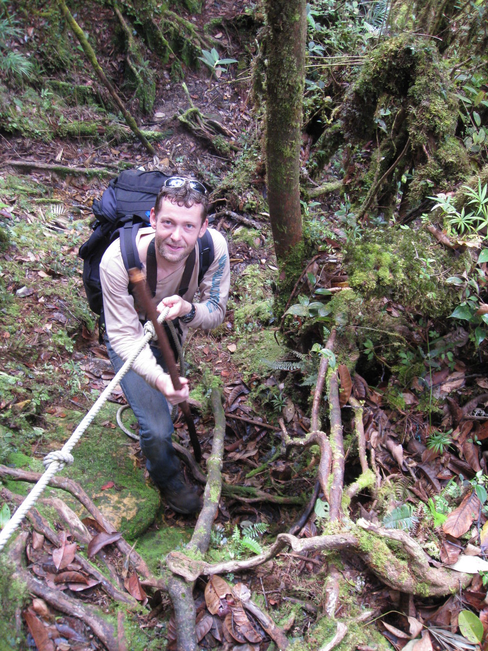 Paul van Els ascending Mt. Mulu in Malaysian Borneo on an ornithological expedition.