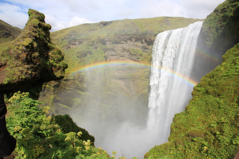 The Skógafoss waterfall on the Golden Circle, one of the most popular waterfalls in Iceland.
