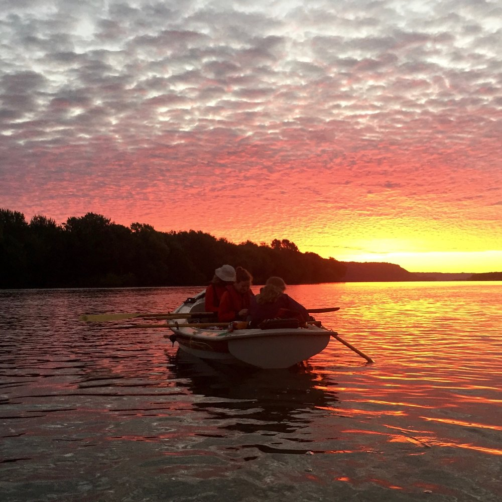 """You can't have too many amazing sunrises. We were up early to tackle the 23-mile long and notoriously windy Lake Pepin on our way down the Mississippi River from Minnesota to Louisiana. We rode the current into the top of the lake while cooking breakfast and this is what greeted our day."" - OAR Northwest Team, @LSUscience Instagram Take-Over"