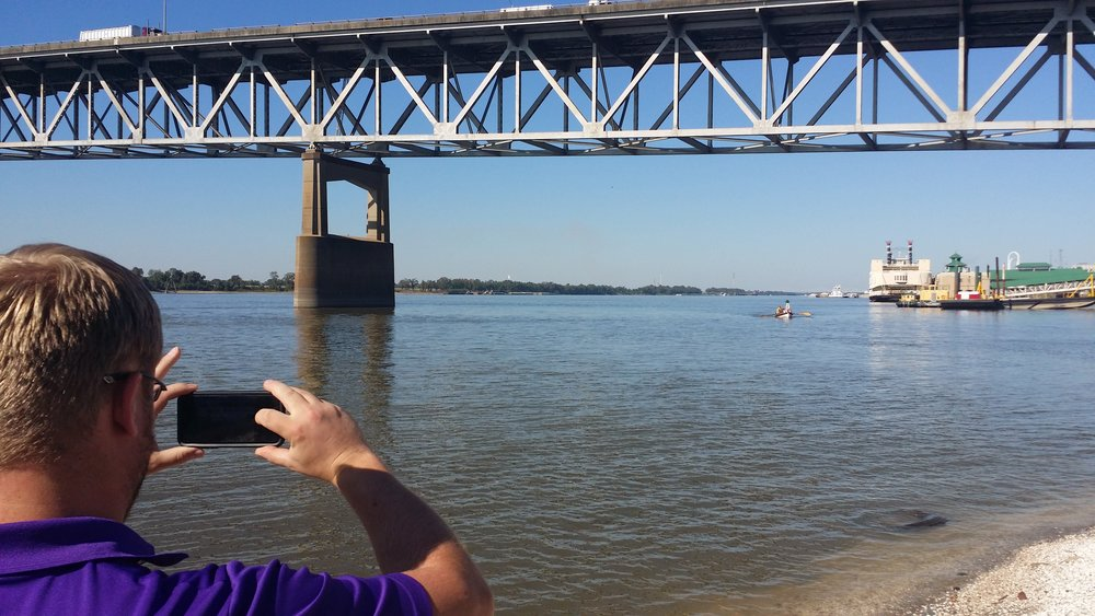 Mike Henson waits for Oar Northwest rowers in Baton Rouge