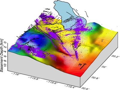 Diagram: Perspective view of basement depths in the Imperial Valley at the southern end of the San Andreas Fault system overlain by faults (black lines) and earthquakes (purple dots). Hot colors show deeper basement, i.e., thicker sediment fill and possibly more severe ground shaking in the event of a large earthquake. Blue-filled area is the Salton Sea.