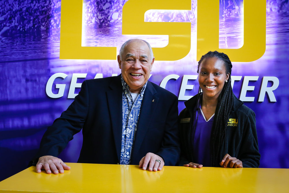 "Col. Gregory took a few minutes after his introduction to Hidden Figures Revealed to speak one-on-one to LSU astrophysics undergraduate student Shanice Manning. ""Col. Gregory told me that I need to continue enjoying what I do,"" Shanice said. ""As long as I keep enjoying it, then I will never lose the motivation in it. He told me that the journey is what I should focus on - enjoying that journey rather than the destination."" Shanice dreams of working at NASA on the Journey to Mars project. Photo credit: Paige Jarreau."
