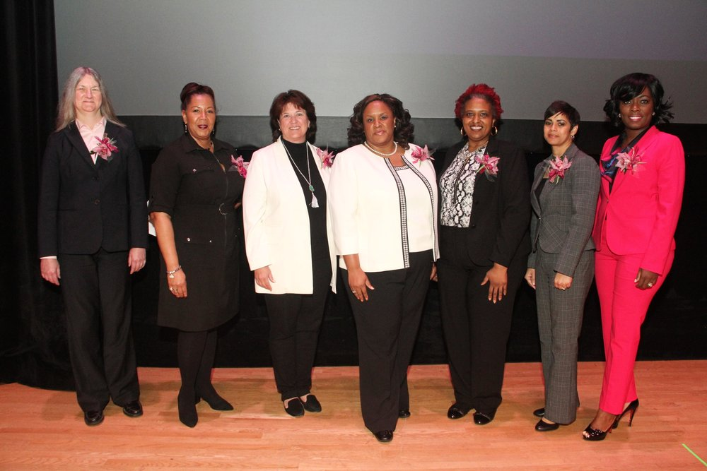 Panelists at LSU Hidden Figures Revealed. From left to right: Dr. Judy Wornat, Katherine Michele Sanders, Dr. Cynthia Peterson, Dr. Zakiya Wilson-Kennedy, Dr. Karen Crosby, Dr. Michelle Clayton, Latoya Bullard-Franklin.