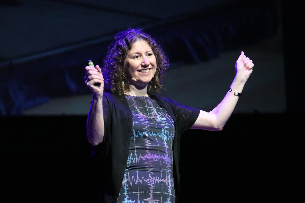 Gabriela Gonzálezat TEDxLSU, wearing the LIGO dress. Photo via TEDxLSU.