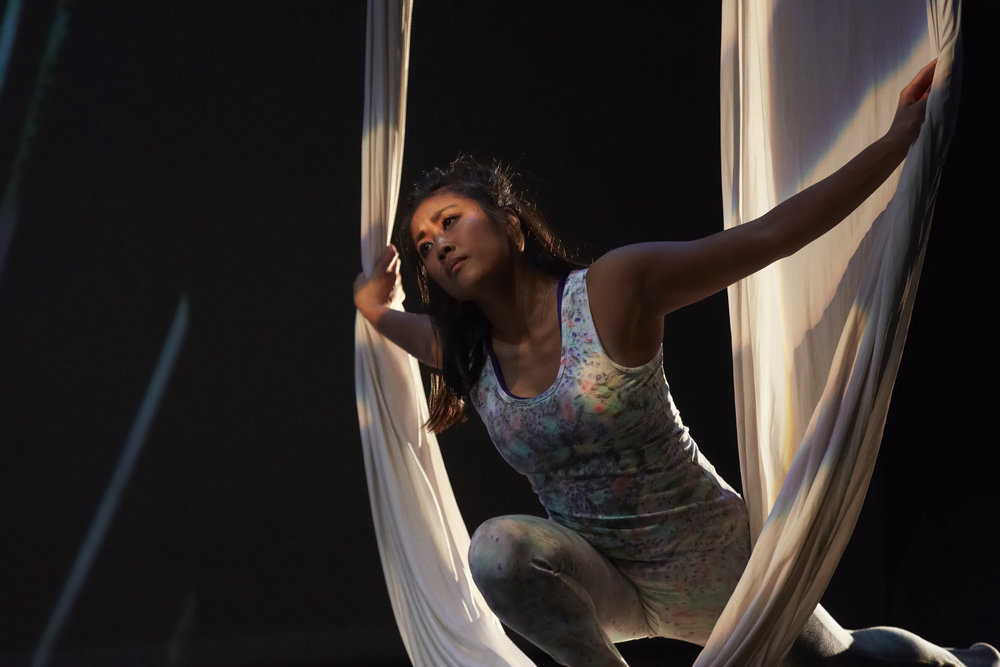 Reeny, a biology student at LSU, recently performed in Scotland in an aerial silks show created by the LSU School of Theatre. Photo by Andy Phillipson.
