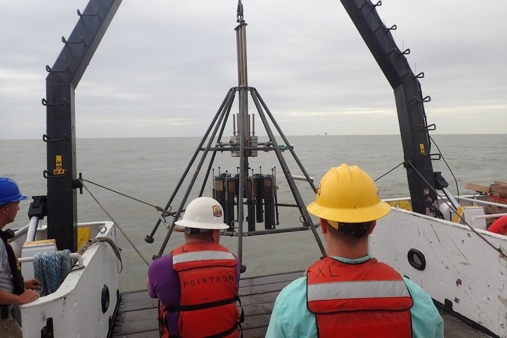 Photo: Bentley and colleagues recover a multicore (mud samples from the seabed) from the Mississippi River Delta Front. Credit:  LSU Coastal Studies