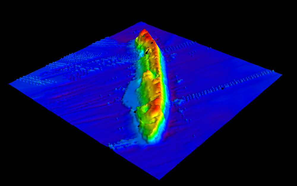 Preliminary bathymetric (submarine topography) image of the SS Virginia looking from the stern to the bow. The ship is resting on its port side. Image credit: USGS. Seafloor mapping was led by Jason Chaytor's group at the USGS Woods Hole Coastal and Marine Science Center.