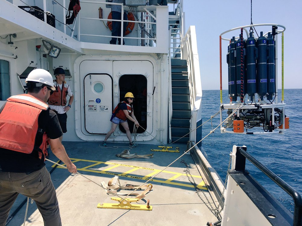 Photo of Dr. Jennifer Glass (Faculty, Georgia Institute of Technology) and Dr. Anthony Bertagnolli (Post-Doc, Georgia Institute of Technology) retrieving a CTD under the watch of Brandon D'Andrea. The CTD has collected water samples from a particular depth. Credit: Mike Henson.