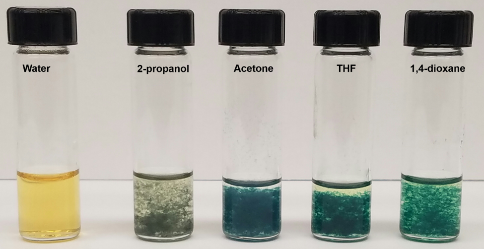 Platinum compounds changing colors in presence of solvents. Credit: Siddieg Elsiddieg, LSU.