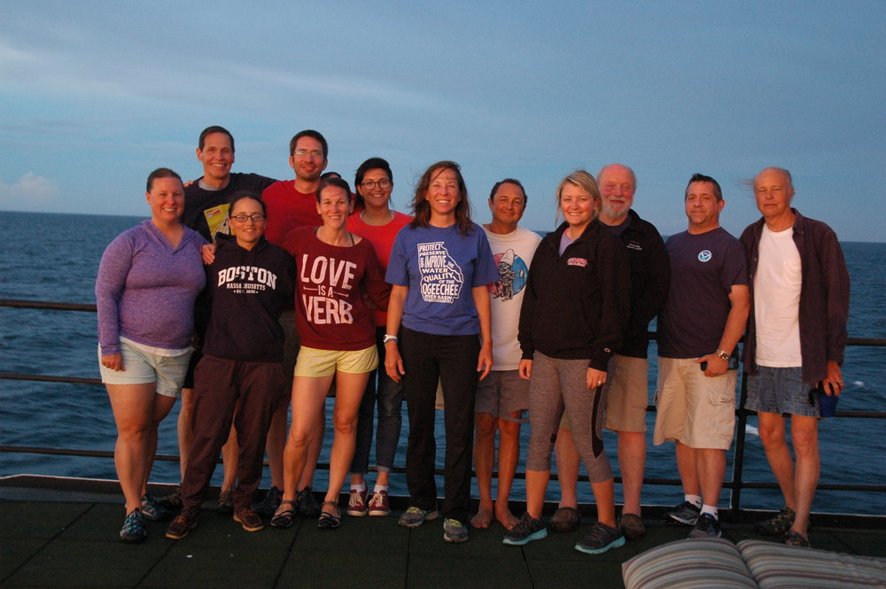 Photo of scientists on the R/V Nancy Foster. Left to Right: Faith Knighton, Danny Gleason, Marybeth Head, Tim Henkel, Alicia Reigel, Brianne Varnerin, Kimberly Roberson, Roldan Munoz, Hayley Haynes, Peter Auster, Capt. Don Pratt, and Randy Rudd. Credit: Jody Patterson.