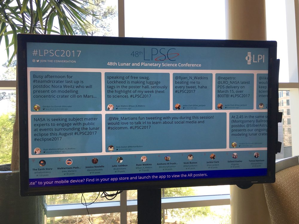 Picture of the social media wall at the  2017 Lunar and Planetary Science Conference .
