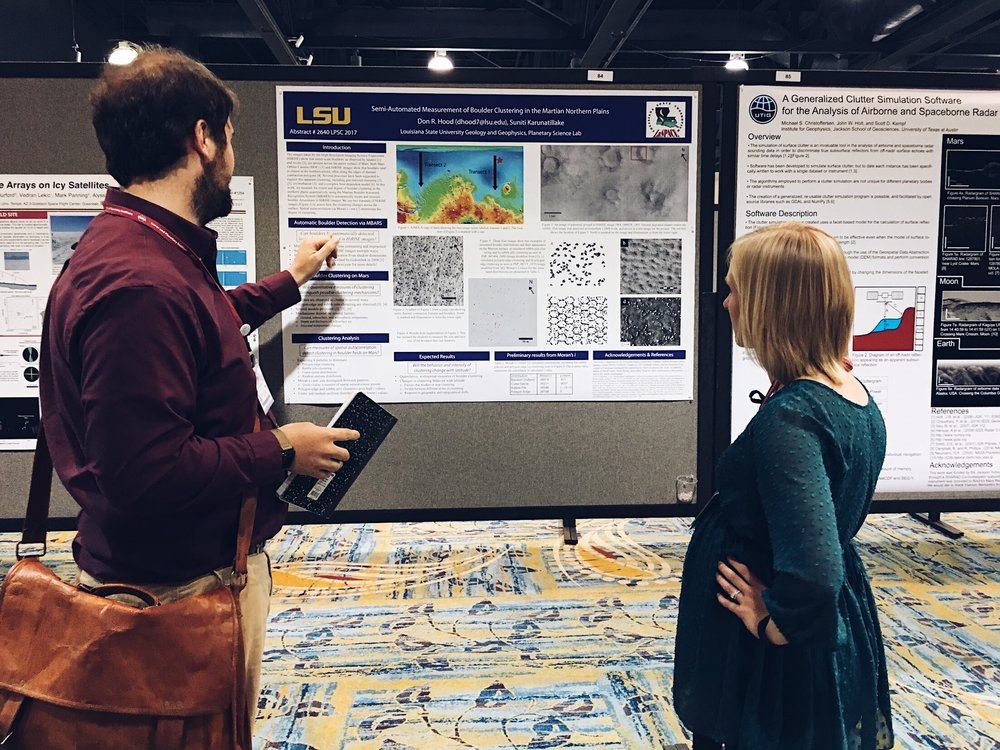 David Susko presenting his research at the  2017 Lunar and Planetary Science Conference . Credit: Nicki Button.