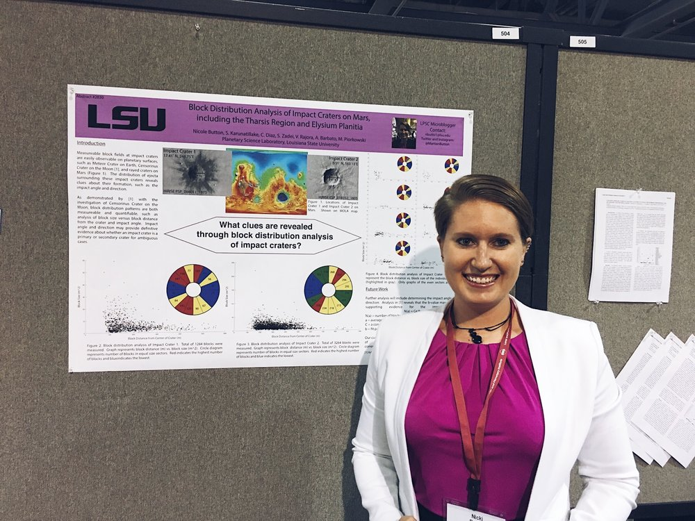 Nicki Button by her research poster at LPSC 2017.