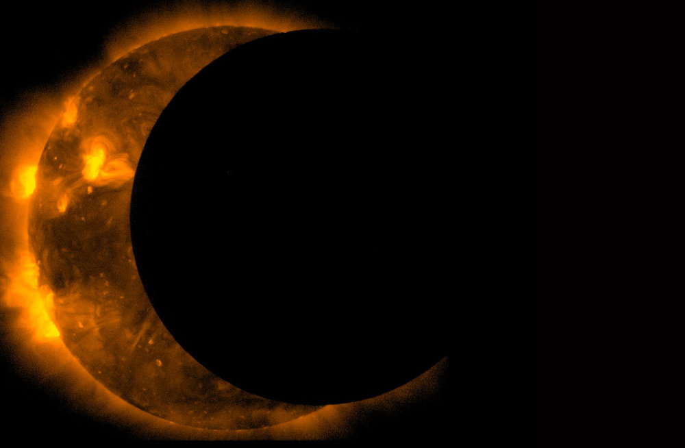 X-ray view of a solar eclipse in progress. Credits: NASA's Goddard Space Flight Center.